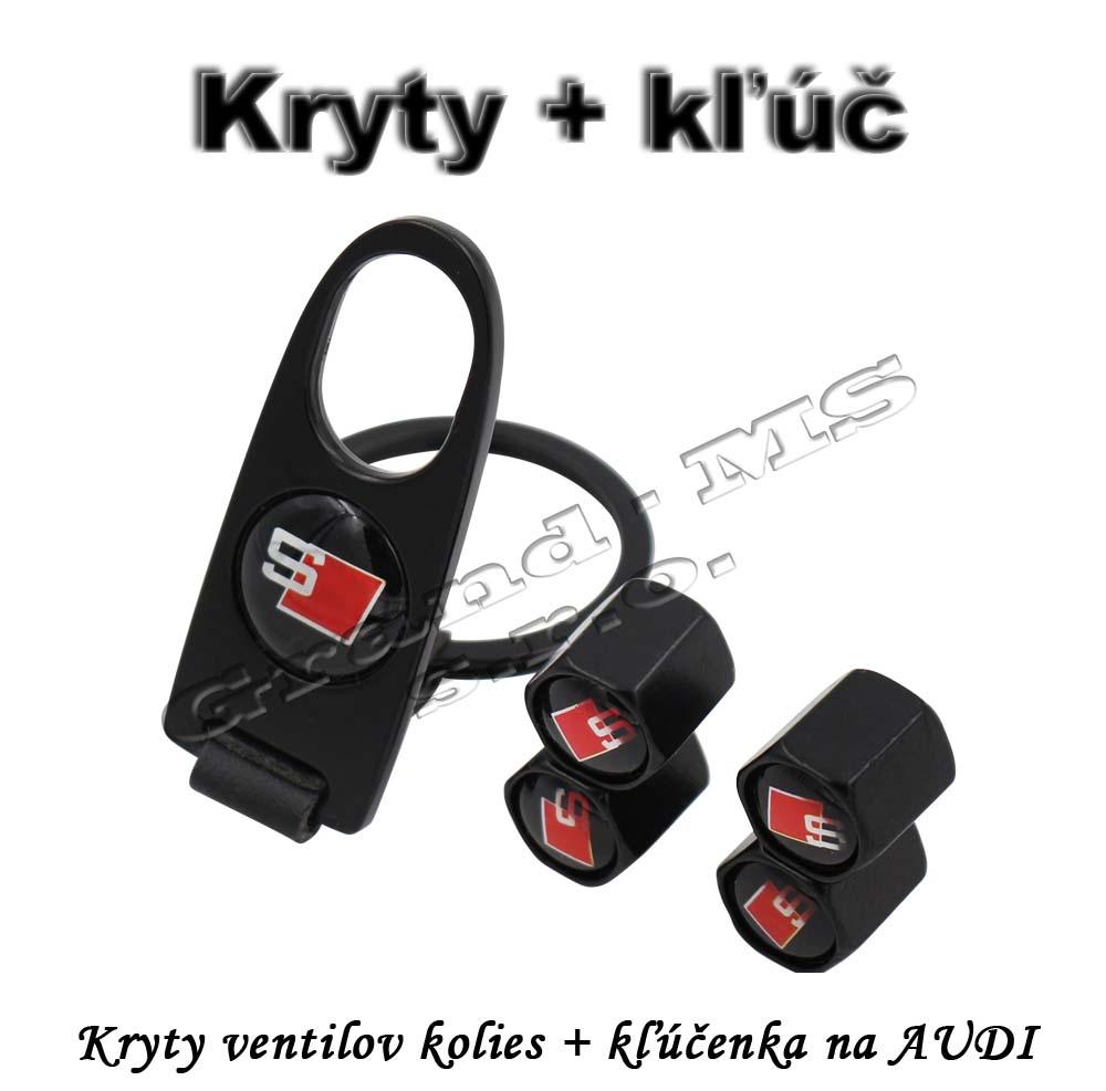 Ostatný tovar   Kryty ventilov kolies + prívesok s kľúčom na AUDI 04d285e0132