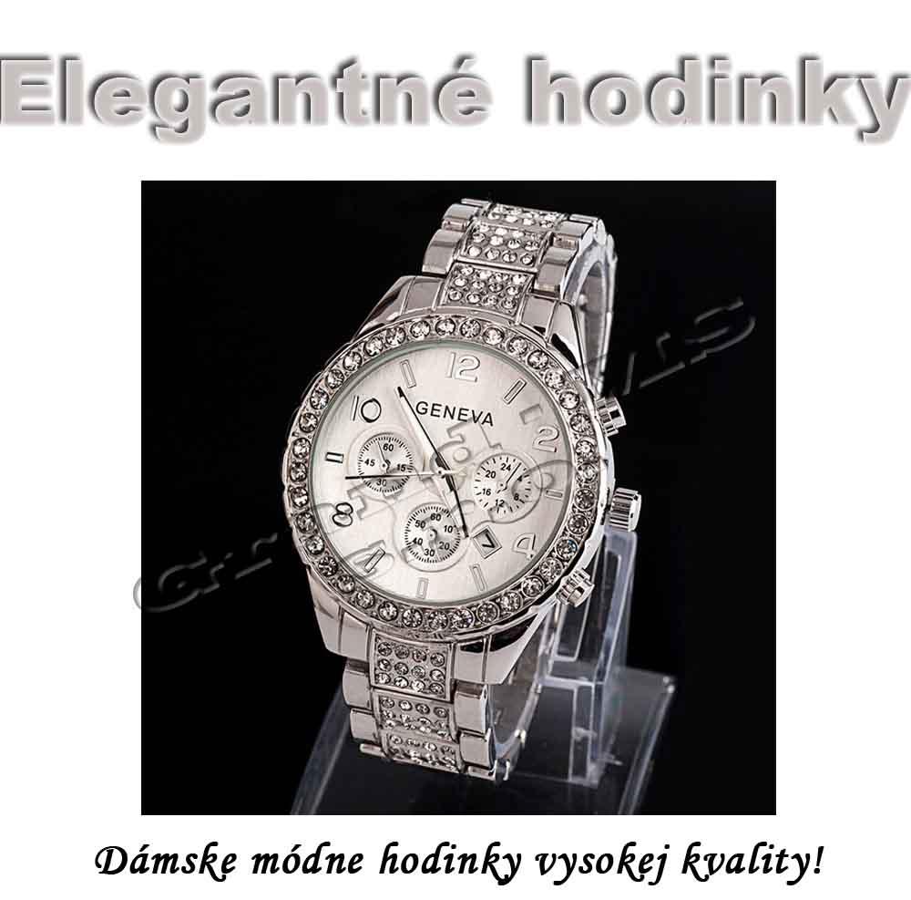 Ostatný tovar   Dámske exkluzívne hodinky Geneva s kryštálmi strieborné 893fcbb7946