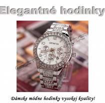 Dámske exkluzívne hodinky Geneva s kryštálmi strieborné 2230c2b726b